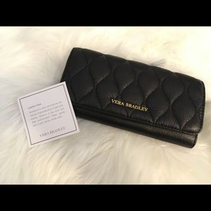 Vera Bradley quilted leather Audrey trifold wallet